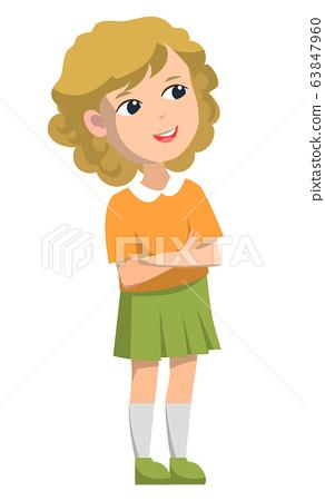 Schoolgirl Standing Alone, Back to School Concept 63847960