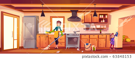 Woman and girl doing cleaning on kitchen 63848153