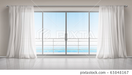 Empty room with glass door to balcony and curtains 63848167