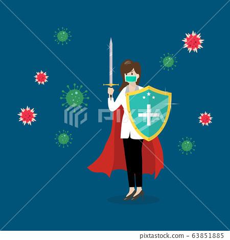 Shield protecting virus icons 63851885