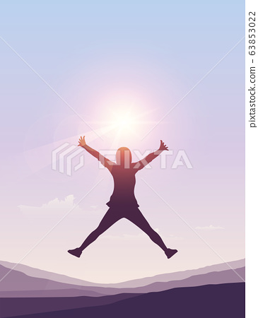 happy girl jumps at sunny summer sky background 63853022