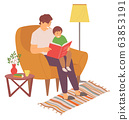 Dad Reading Book with Son, Family Leisure Vector 63853191