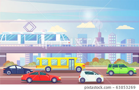 Cityscape with Transport Cars and Train Urban City 63853269