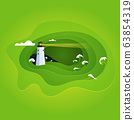 Vector illustration of sea waves and lighthouse.Paper effect landscape . 63854319