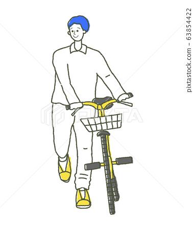 자전거를 눌러 소년 일러스트 63854422