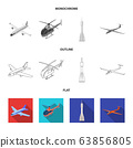 Vector illustration of transport and object logo. Set of transport and gliding stock vector illustration. 63856805