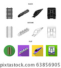 Vector design of railroad and train sign. Collection of railroad and way vector icon for stock. 63856905
