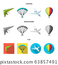 Isolated object of transport and object logo. Set of transport and gliding vector icon for stock. 63857491