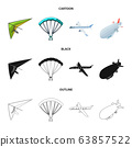 Vector design of transport and object symbol. Collection of transport and gliding stock vector illustration. 63857522