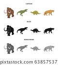 Isolated object of animal and character logo. Set of animal and ancient stock symbol for web. 63857537