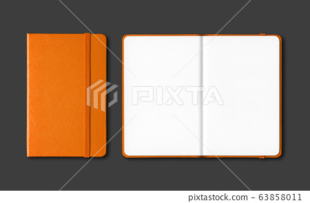Orange closed and open notebooks isolated on black 63858011