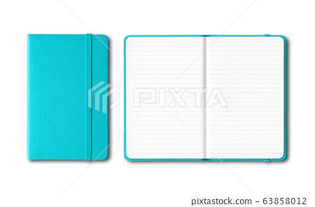 Aqua blue closed and open lined notebooks isolated 63858012