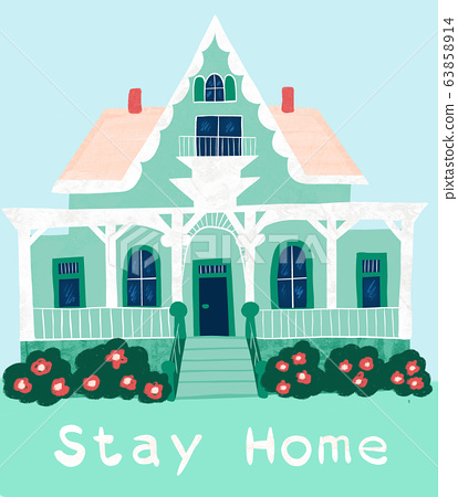 Victorian style house with Stay home quote. Corona virus banner for quarantine or self-isolation 63858914