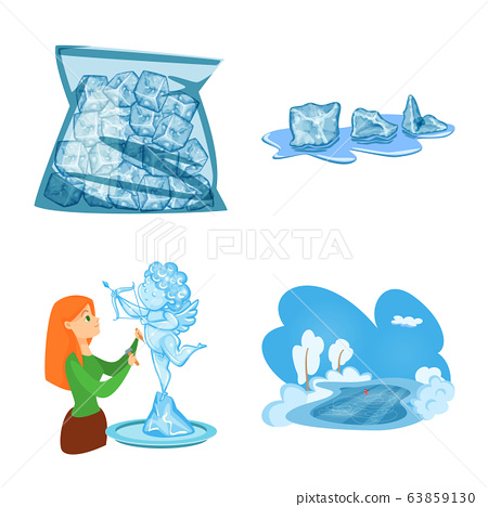 Vector design of frost and water symbol. Set of frost and wet stock vector illustration. 63859130