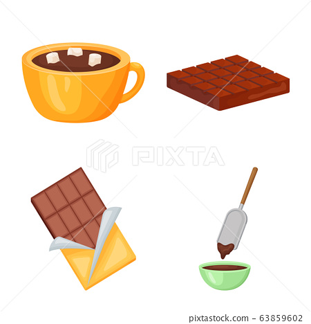 Vector design of cocoa and beans symbol. Set of cocoa and sweetness stock vector illustration. 63859602