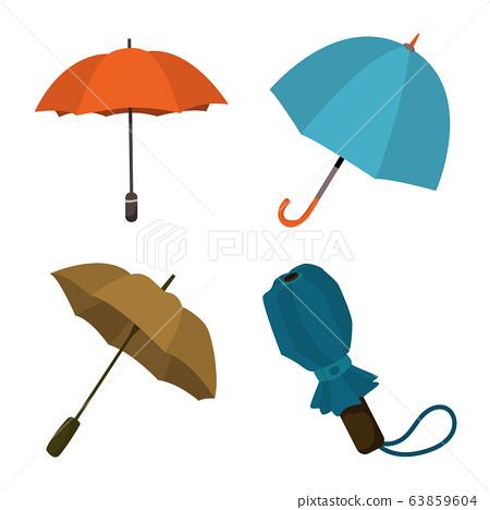 Vector illustration of umbrella and rain symbol. Set of umbrella and weather stock vector illustration. 63859604