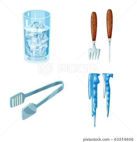 Isolated object of frost and water sign. Collection of frost and wet stock vector illustration. 63859606