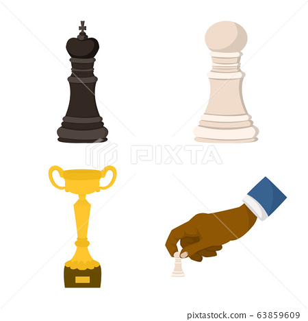 Vector illustration of chess and game symbol. Set of chess and strategy vector icon for stock. 63859609