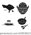 Isolated object of and traditional sign. Collection of and bali stock vector illustration. 63859623