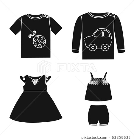 Vector illustration of little and cotton symbol. Collection of little and kid vector icon for stock. 63859633