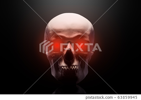 Model of the human skull with red eyes isolated on 63859945