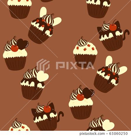 Vector Clipart - Cupcake on retro background. Vector Illustration  gg56489021 - GoGraph