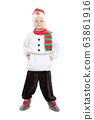 Little adorable boy in a snowman costume 63861916