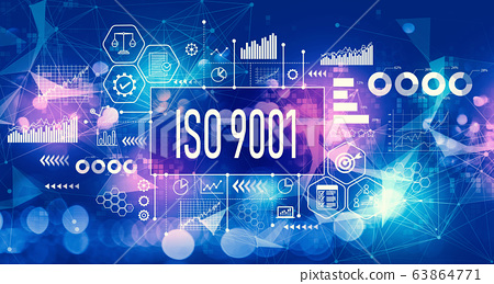 ISO 9001 concept with technology light background 63864771