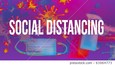 Social Distancing theme with face mask and spray bottle 63864773