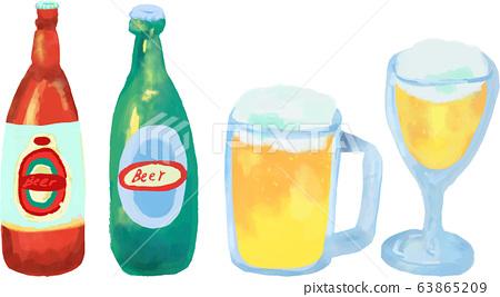 Watercolor beer bottle mug glass 63865209