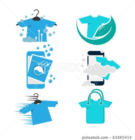 Set of modern laundry logo 63865414