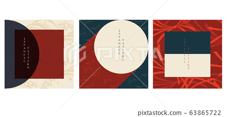 Geometric background with  Japanese pattern vector. Wave, dragonfly and ribbon elements. 63865722
