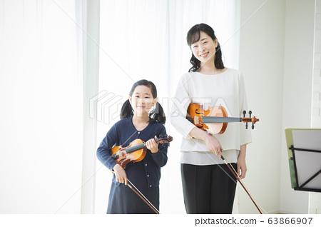 婦女,兒童,小提琴,演奏,演奏,課堂課程,老師,學生 63866907