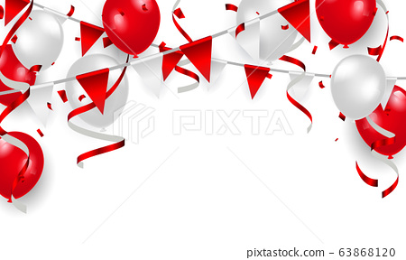 Red balloons, confetti concept design 17 August 63868120