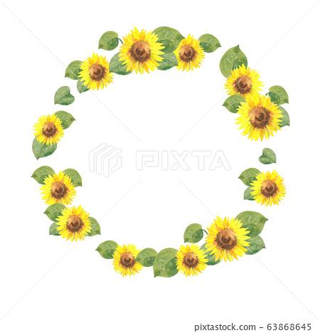 向日葵水彩畫框 63868645
