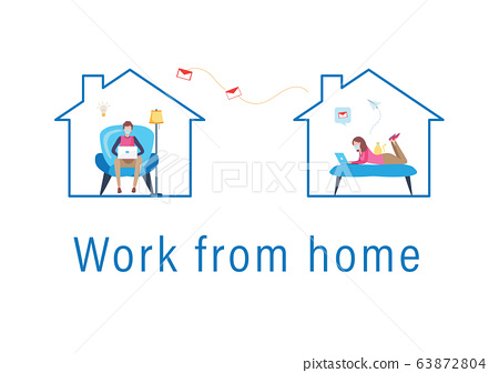 working from home wearing protective mask. Working from home. stay at home. Covid-19. Coronavirus.  63872804