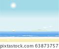 Sky, sea, sandy beach, horizontal, background 63873757