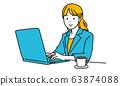 一個女人和一台筆記本電腦一起工作的插圖 63874088