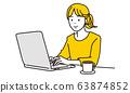 一個女人與一個遠程工作的筆記本電腦上工作的插圖 63874852