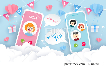 Happy Mother's day background design. Children video call with mom. Happy time concept. 63878186