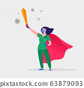 Super doctor and nurse wearing medical masks and capes, superhero couple, vector cartoon 63879093