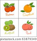 Set of fruits isolated on white background 63879349