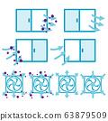 환기를하고 창문과 환풍기 아이콘 63879509