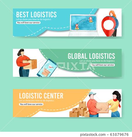 Logistics banner design with box, women watercolor 63879676