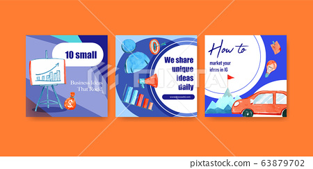 Business ads design with car, money bag watercolor 63879702