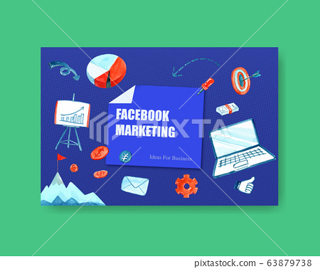 FB social media design with business watercolor 63879738