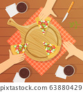 People Sitting at Table and Eating Pizza Together, Top View Vector Illustration 63880429