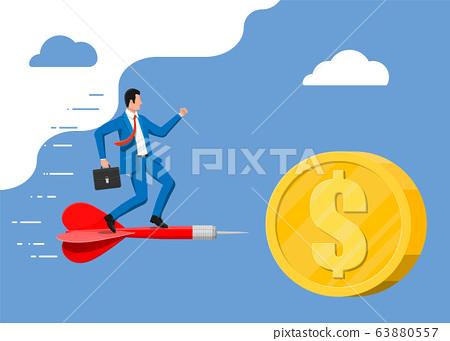 Businessman on aart arrow in dollar coin target. 63880557