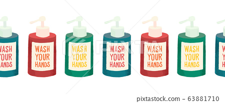 Wash your hands hand soap bottles seamless vector border. Repeating pattern with soap containers 63881710