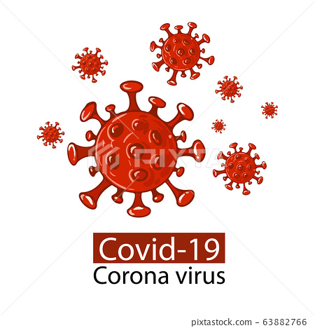 Covid-19 Coronavirus concept design logo.Coronavirus disease COVID-19 infection medical isolated.New official name for Coronavirus disease named COVID-19, vector illustration 63882766